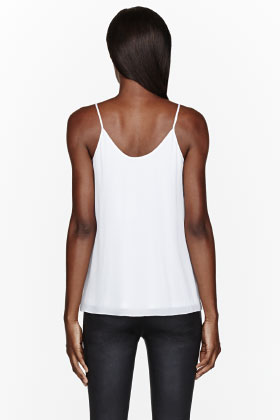 T By Alexander Wang White Silk Georgette & Jersey Layered Tank Top for women | SSENSE