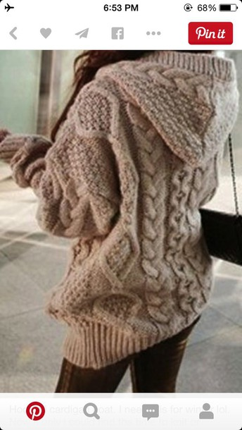 sweater big hoodie comfy knitwear beige sweater