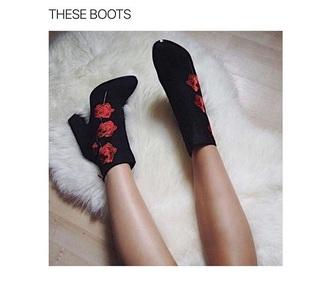 shoes heels roses black red