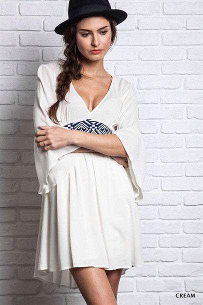 dress boho dress cream dress beautiful little white dress trendy girly boho