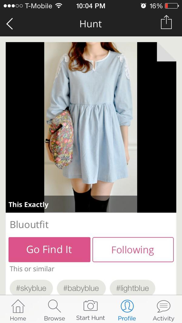 tumblr dress blue dress light blue light blue dress girly dress tumblr sleeves socks