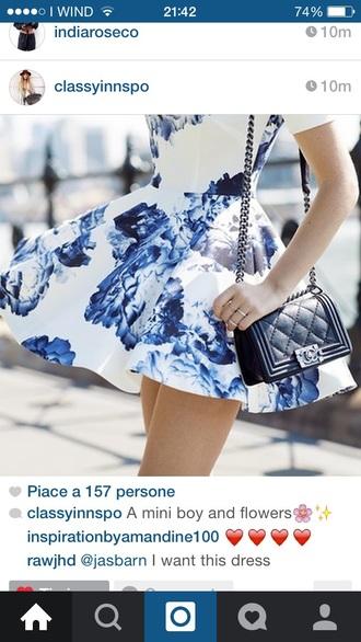 dress floral flowers print mini short blue peonies satchel bag shoulder bag