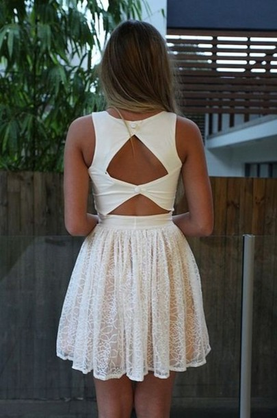 dress white lace short lace dress open back summer dress white  buttons cute dress ivory cut-out dress cut-out white dress amazing beautiful dressy prom dress dress sad open back dresses white short dress pretty back summer cute pretty backless white dress cute dress short dress floral tips? cute outfits summer outfits graduation dresses cool girl style short/mini