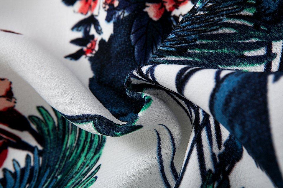 White Long Sleeve Zipper Floral Jacket - Sheinside.com