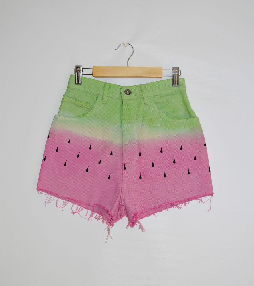 Hipster High Waist Summer Denim Shorts Tie Dye DIP Dye 'Watermelon' Size UK 6 | eBay