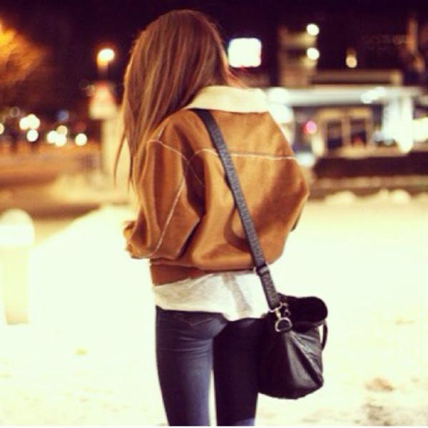 jacket bag jeans leather jacket coat fluffy