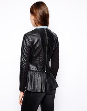 Muubaa | Muubaa Cursa Peplum Leather Jacket at ASOS