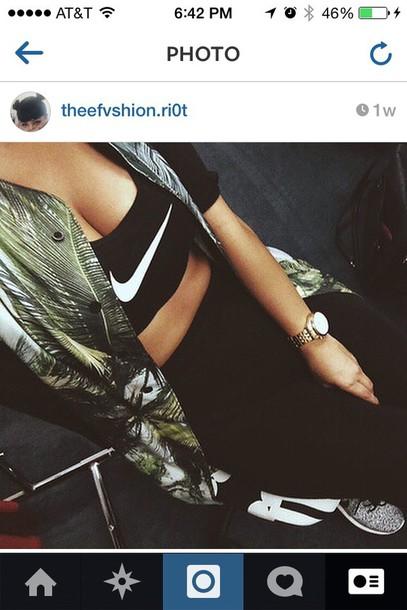 jacket black sleeves button up jacket palm tree print leaf print sporty outfit sporty sporty jacket nike jacket