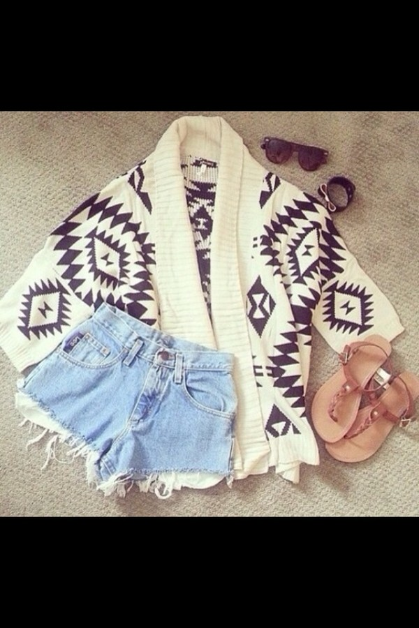 blouse aztec cardigan w&b shorts sandals sunglasses