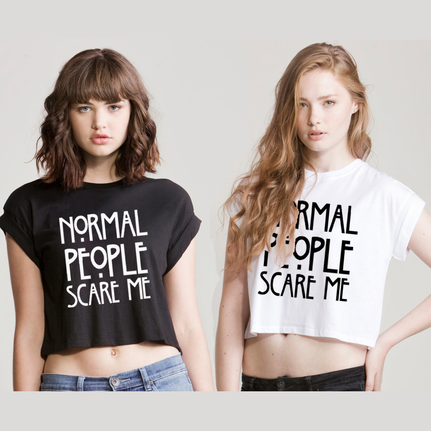 Normal People Scare Me Crop Top T Shirt American Horror Story Tumblr Top Fashion   eBay