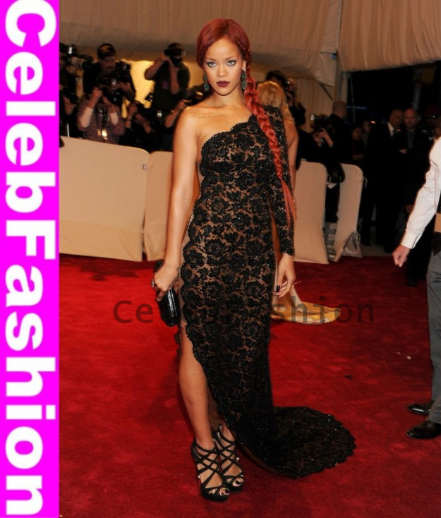 Sexy One Shoulder Long Sleeve Full Black Lace Evening Dress Rihanna Style Beaded Lace Red Carpet Celebrity Dress Prom Dress-in Celebrity-Inspired Dresses from Apparel & Accessories on Aliexpress.com