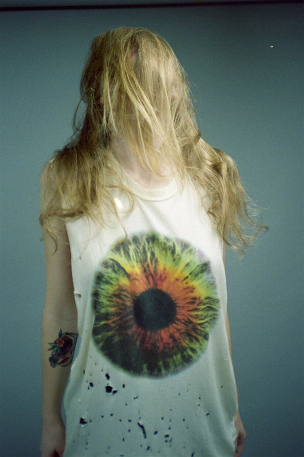 shirt t-shirt tumblr grunge alternative eyes ripped t-shirt blouse eye sleeveless color/pattern cool blonde chick punk indie rosy hipster print whites blue colorful nature body human