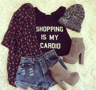 t-shirt shopping shopping is my cardio tank top floral indie boots beanie shoes
