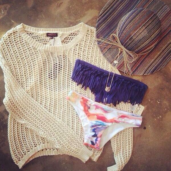 hat beach sun hat sweater swimwear bikini swimwear fishnet?