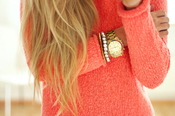 sweater neon pink coral jewels coral sweater gold watch