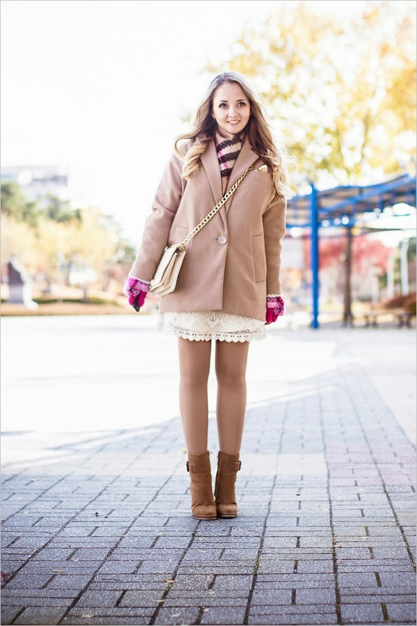 my blonde gal shoes bag scarf coat dress