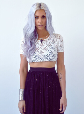 skirt purple glitter pretty girly one of each dress clothes blue galaxy print hipster hippie flowy lace shirt