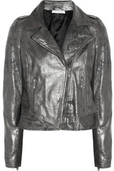 Metallic coated-leather biker jacket | THE OUTNET