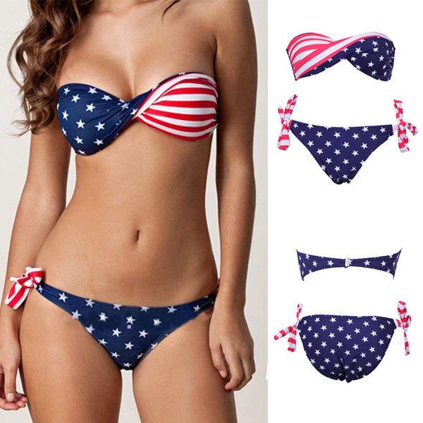 Sexy Stars Stripe American USA Flag Padded Bikini Swimwear Bathing Swimsuit   eBay