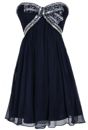 Lily Boutique Sequin Bow Chiffon Designer Dress by Minuet in Navy/Silver Lily Boutique