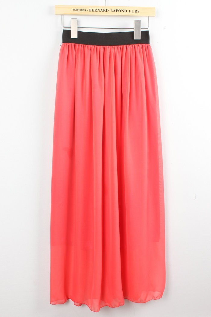 Hot Women Double Layer Chiffon Pleated Retro Long Maxi Dress Elastic Waist Skirt | eBay