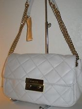 Michael Kors Vanilla White Sloan Quilted Leather Shoulder Bag Chain $298 | eBay