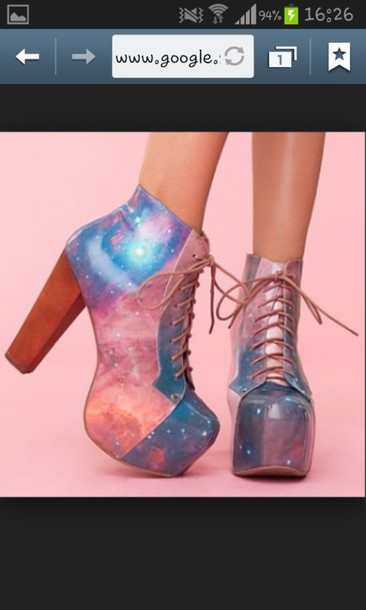 shoes galaxy print platform lace up boots