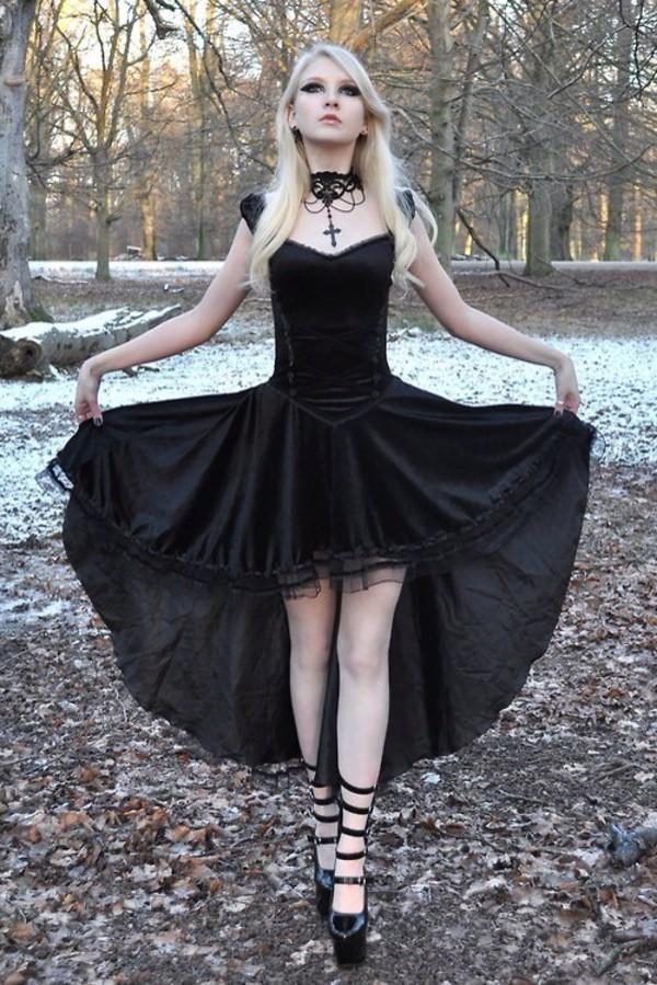 dress black dress high low kawaii goth jewels shoes