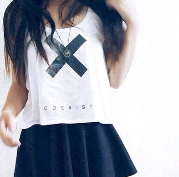 shirt black skirt crop tops beautiful cross skirt tumblr outfit wow