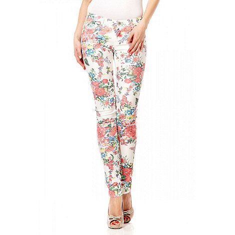 Quiz White And Red Floral Print Skinny Jeans- at Debenhams.com