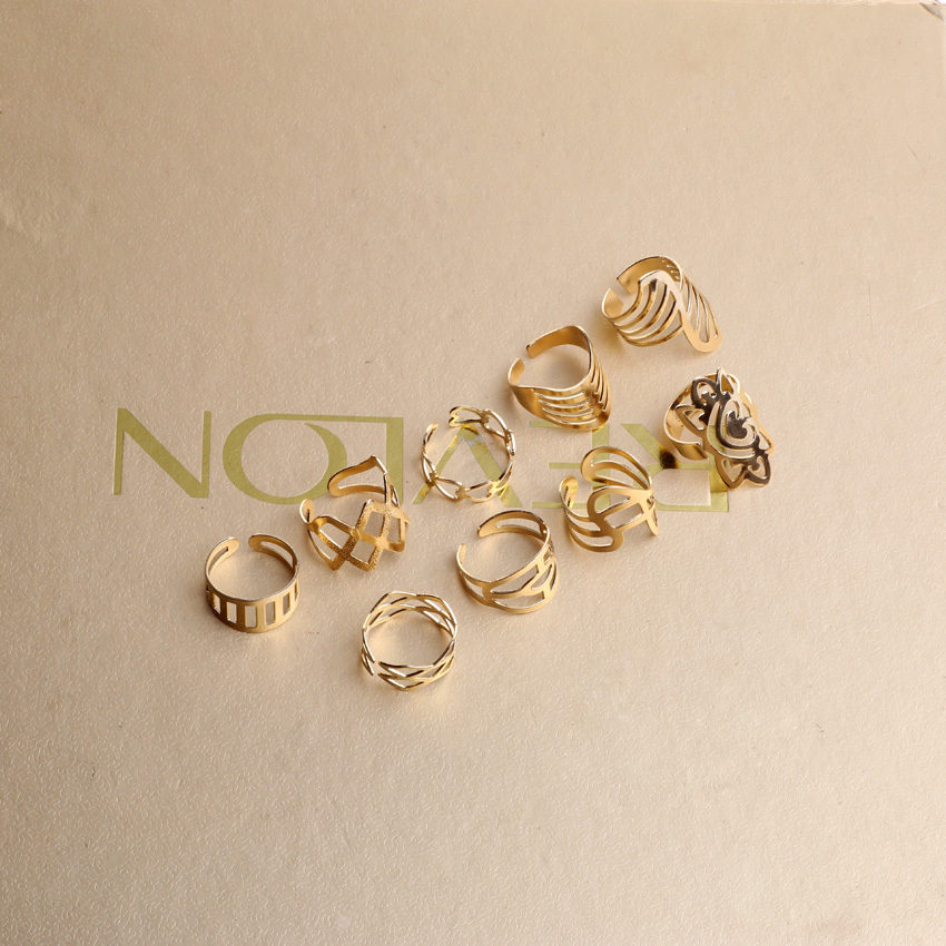 9pcs set Shiny Punk Polish Gold Stack Plain Band Midi Mid Finger