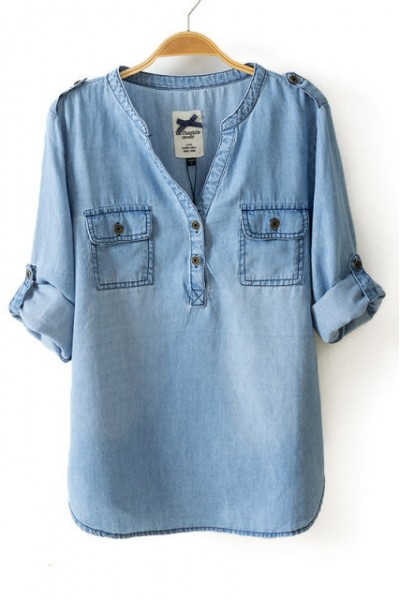 KCLOTH Drop Neck Denim Shirt with Pockets