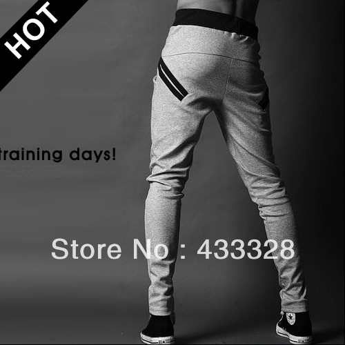 Promotion! Men's korean style sports pants casual slacks pocket design harem sweatpants skinny trousers free shipping-in Pants from Apparel & Accessories on Aliexpress.com