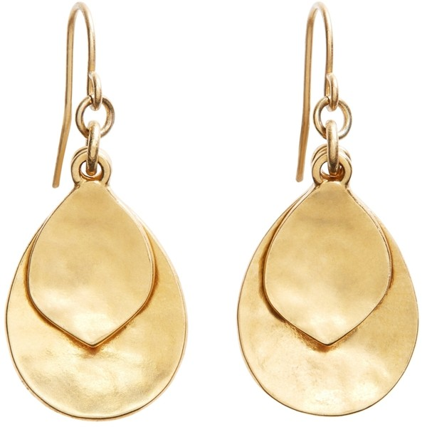 Brooks Brothers Gold Hammered Drop Earrings - Polyvore