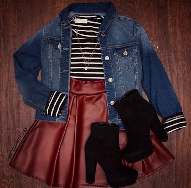 skirt high waisted skirt stripes striped shirt denim jacket boots fashion