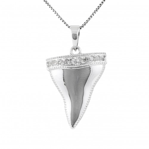 Sterling Silver 1/10 cttw Diamond Shark's Tooth Pendant | Jewel Exclusive