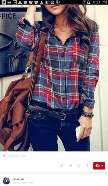 shirt plaid shirt blue shirt button up