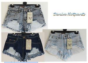 Ladies women Snow wash Acid Blue Frayed Distressed Denim Hotpants/Shorts sz6-14   eBay