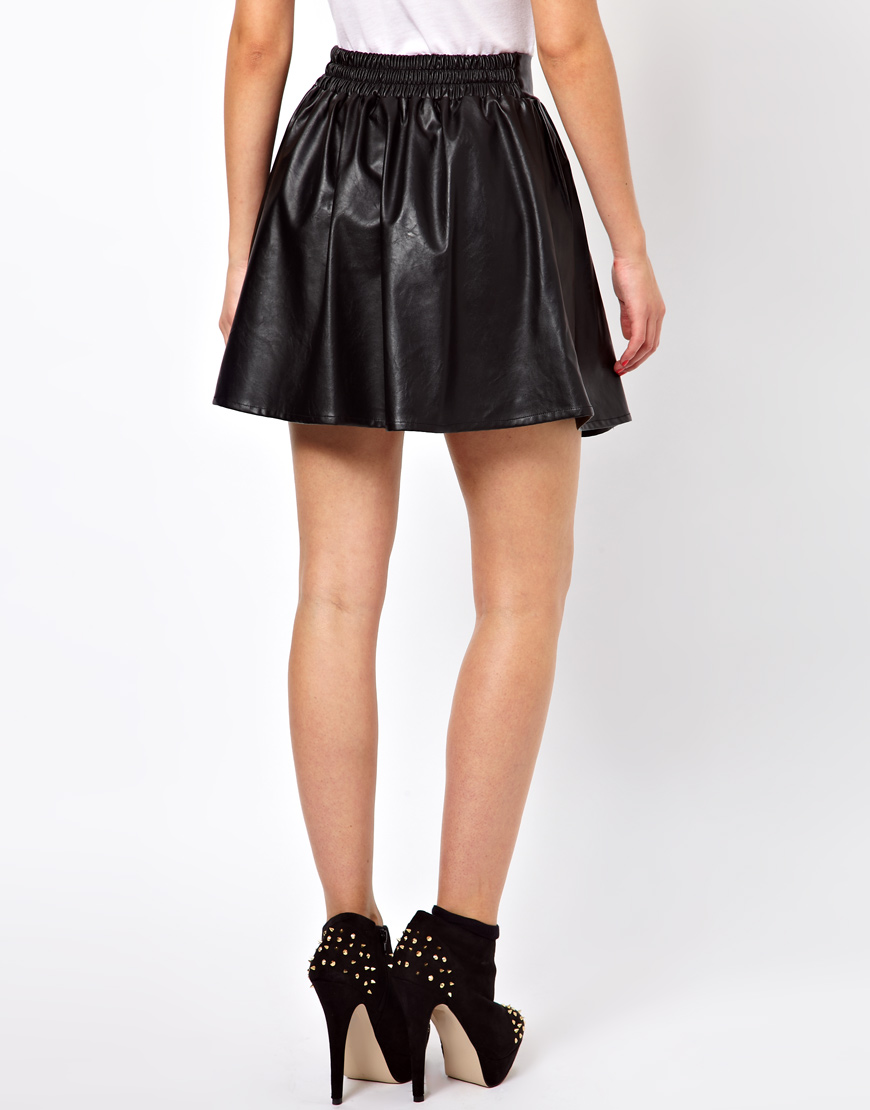 Glamorous leather look PU skater skirt bust skirt-inSkirts from Apparel & Accessories on Aliexpress.com