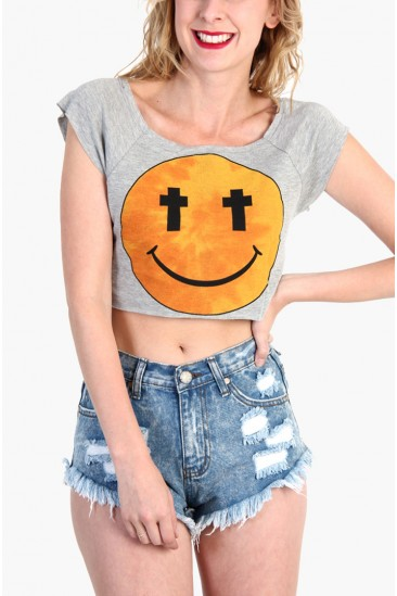 LoveMelrose.com From Harry & Molly | Cross Eye Smile Crop Top - Gray
