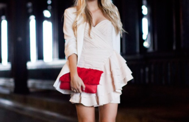 red pink pastel clutch dress ruffle sweetheart neckline blazer