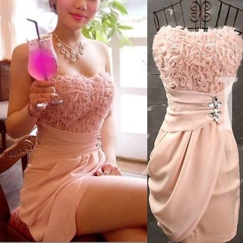Strapless Wrap Chest Chiffon Dress Rose Nightclub Wedding Party Skirt Bridesmaid | eBay