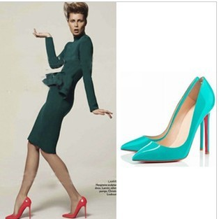 Wedding shoes  red bottoms women shoes sexy patent leather pointed toe high heels pumps blue neon yellow red black size 34 40-in Pumps from Shoes on Aliexpress.com