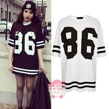 New Womens Baggy Oversized American Baseball 86 Print Varsity Celeb T-Shirt Top | eBay