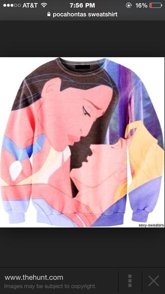 sweater pocahontas sweatshirt disney sweater printed sweater