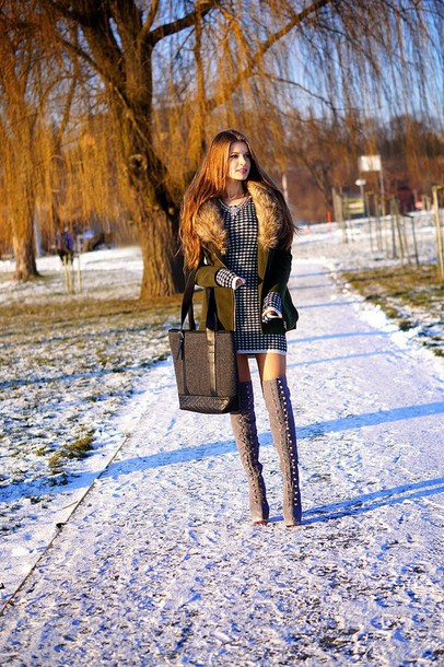 only my fashion style blogger thigh high boots sweater dress tote bag winter outfits dress coat bag shoes khaki snow
