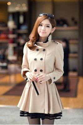 Wholesale Bow Double Breasted Ruffles Stand Collar Patchwork Long Coats