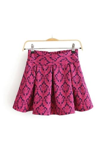 Vintige Pattern Mini Pleated Skirt [FMCC0183]- US$18.99 - PersunMall.com