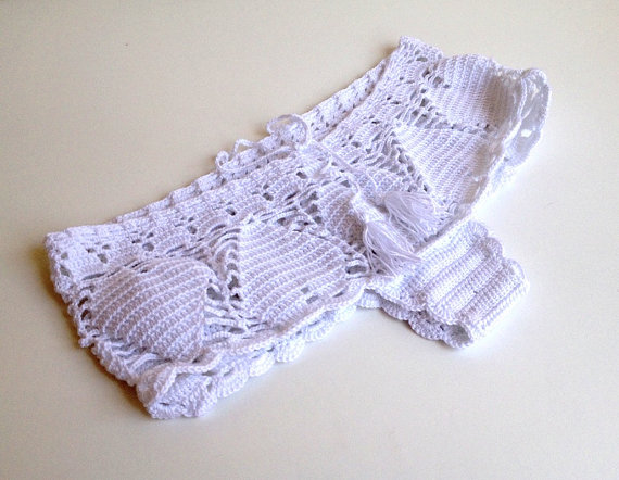 white lace shorts crochet women shorts mini by senoAccessory