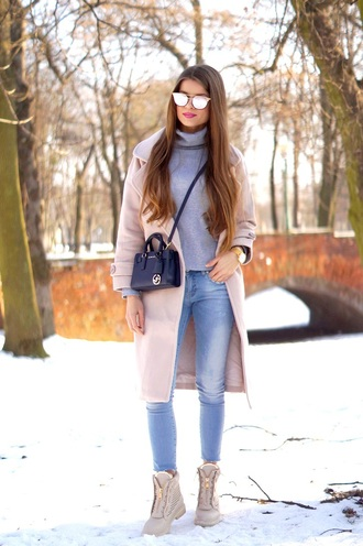 only my fashion style blogger coat bag shoes pink coat turtleneck sweater skinny jeans winter outfits